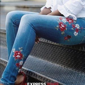 Express Embroidered Light Wash Denim Jeans